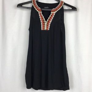 Lucky Brand Black Embroidered Neck Tank SZ S